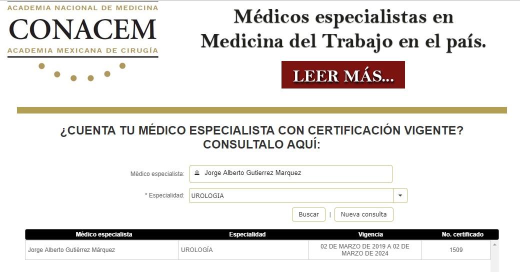 Certificado por el Consejo Nacional Mexicano de Urología